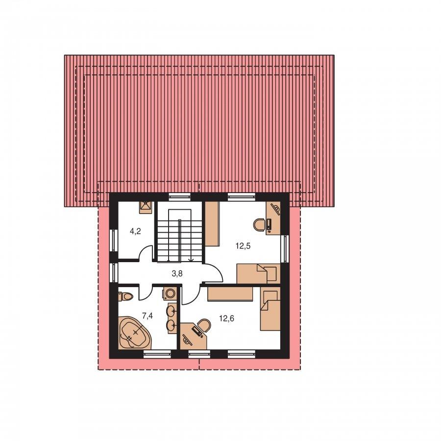 Pôdorys Poschodia - Menší zaujímavý dom z časti podkrovný