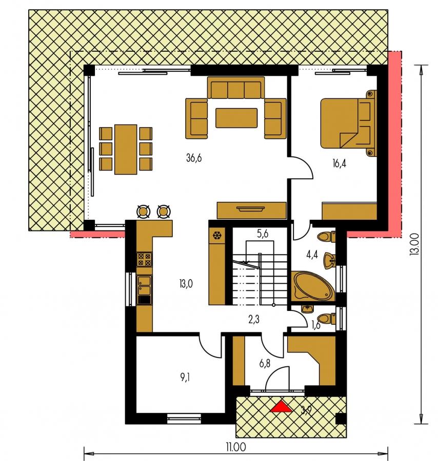Pôdorys Prízemia - Menší zaujímavý dom z časti podkrovný
