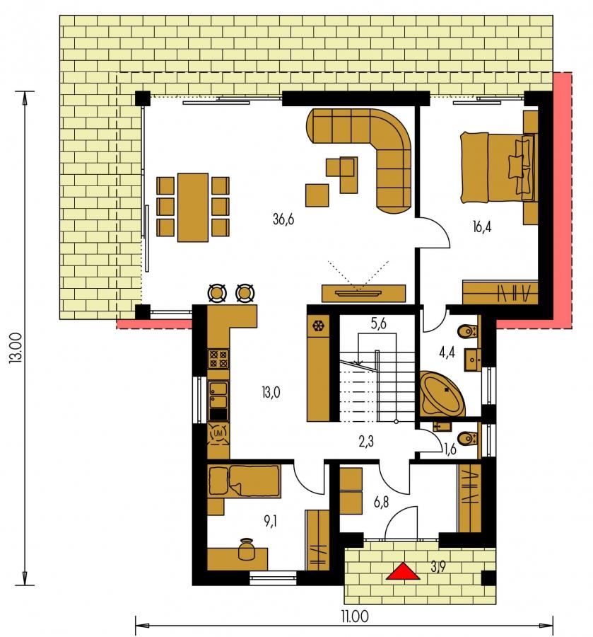 Pôdorys Prízemia - Z časti podkrovný, krásne presvetlený 5-izbový dom.