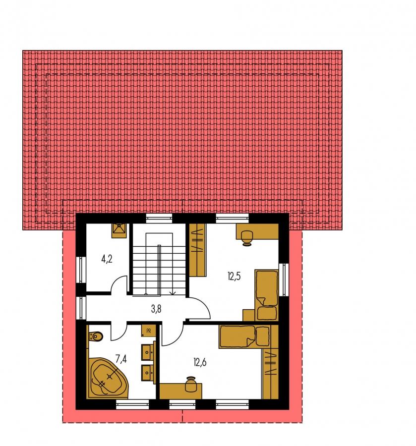 Pôdorys Poschodia - Z časti podkrovný, krásne presvetlený 5-izbový dom.