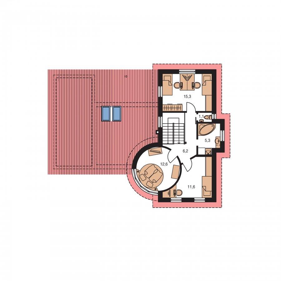 Pôdorys Poschodia - Moderný dom so zaujímavou dispozíciou