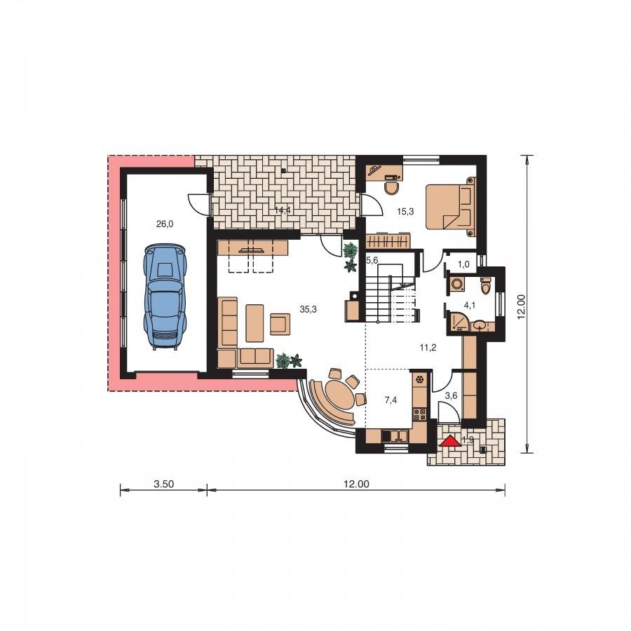 Pôdorys Prízemia - Moderný dom so zaujímavou dispozíciou