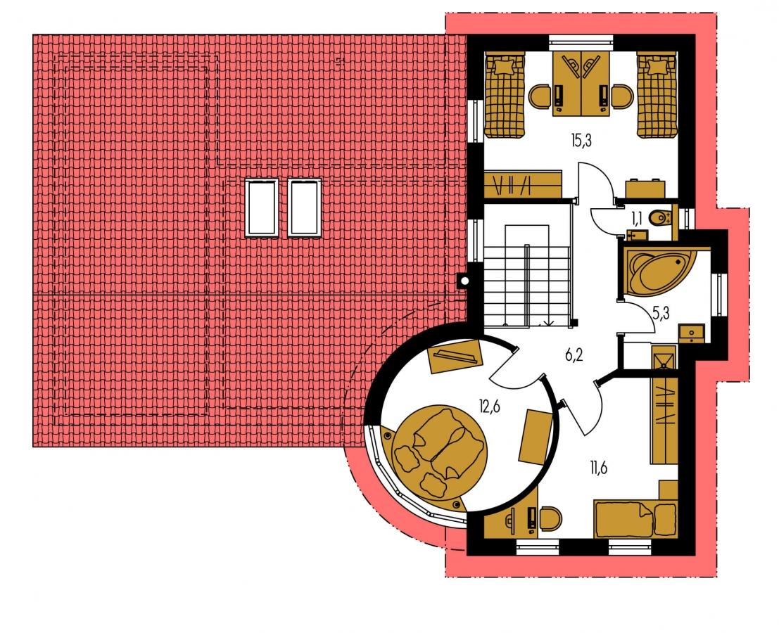 Pôdorys Poschodia - Moderný dom so zaujímavou dispozíciou.