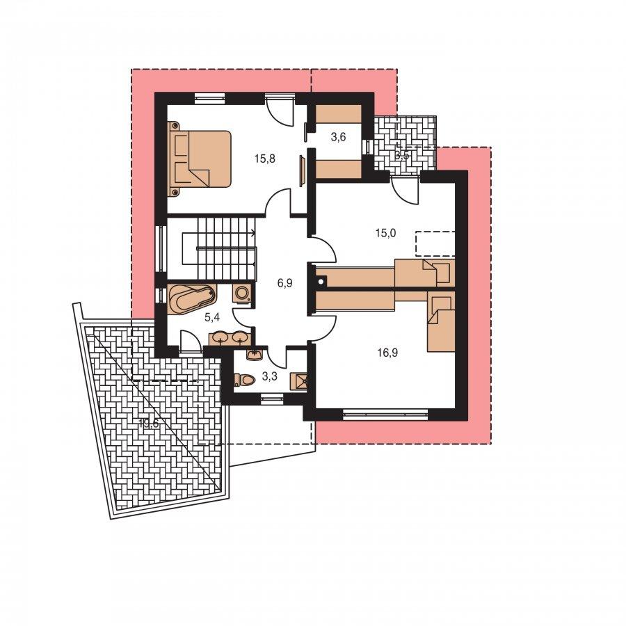 Pôdorys Poschodia - Podkrovný dom so zaujímavou dispozíciou a garážou