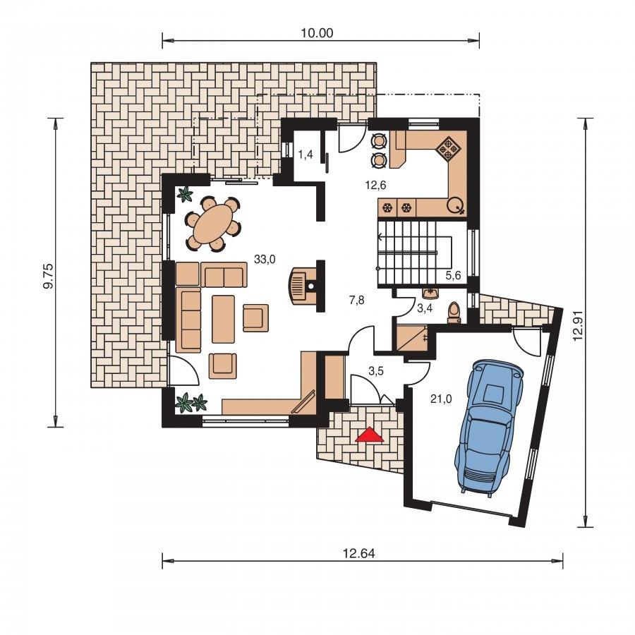 Pôdorys Prízemia - Podkrovný dom so zaujímavou dispozíciou a garážou