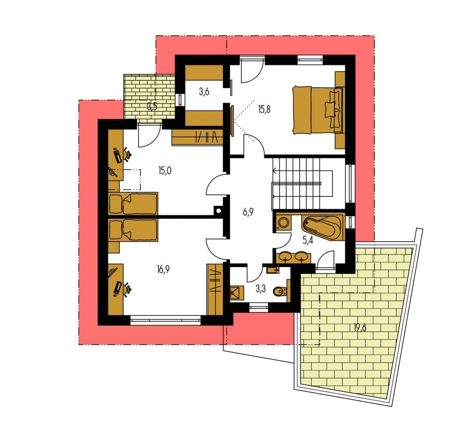 Pôdorys Poschodia - Podkrovný dom so zaujímavou dispozíciou a garážou.
