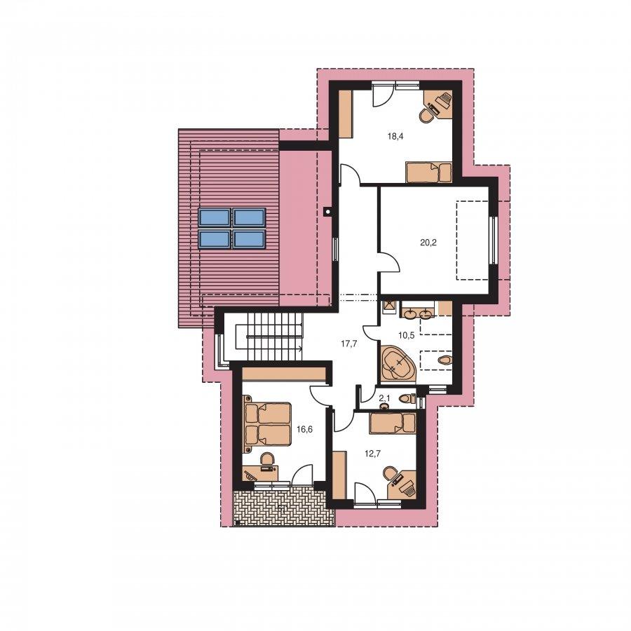 Pôdorys Poschodia - Podkrovný dom s galériou a izbou na prízemí