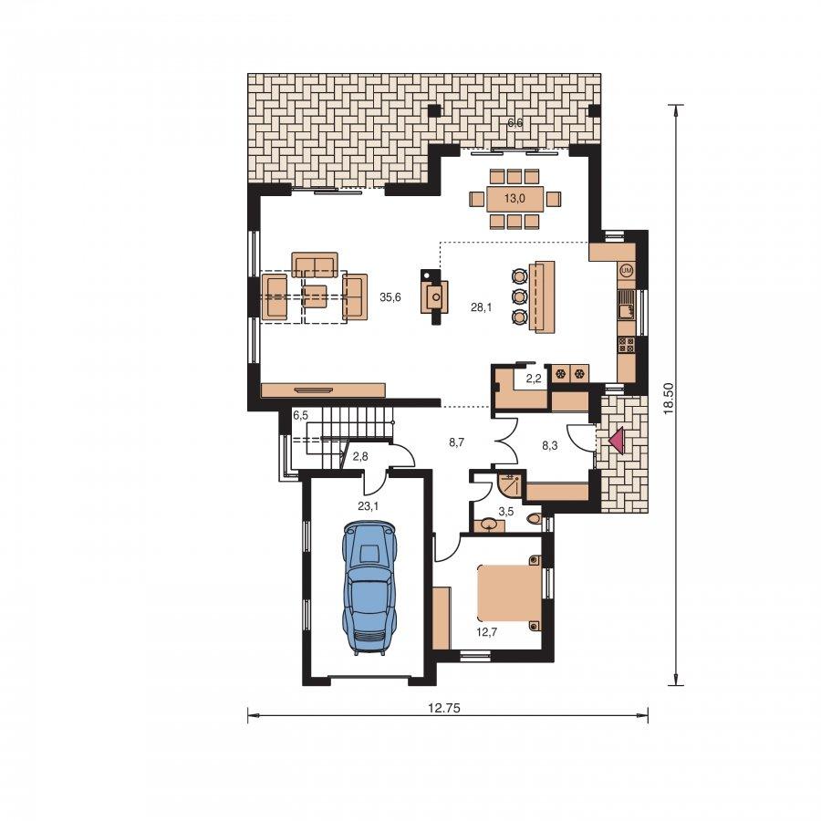 Pôdorys Prízemia - Podkrovný dom s galériou a izbou na prízemí