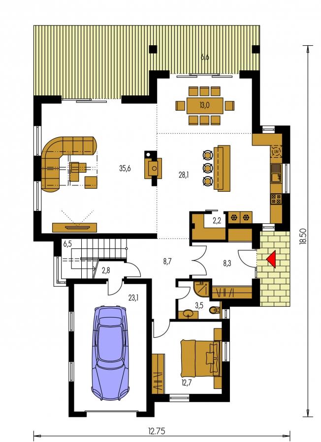 Pôdorys Prízemia - Podkrovný dom s galériou a izbou na prízemí.