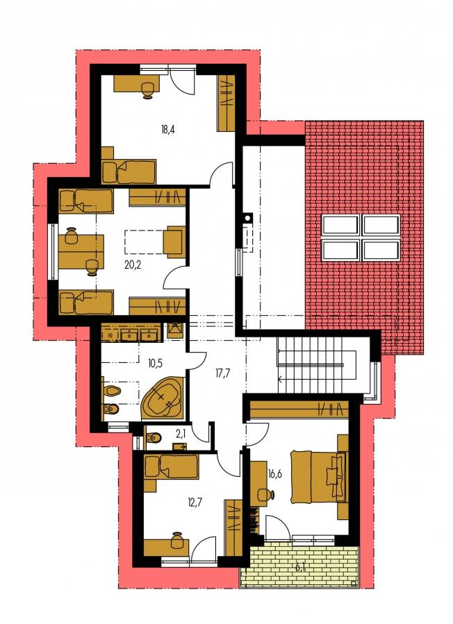 Pôdorys Poschodia - Podkrovný dom s galériou a izbou na prízemí.