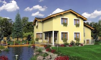 Poschodový rodinný dom s izbami na orízemi a sedlovou strechou
