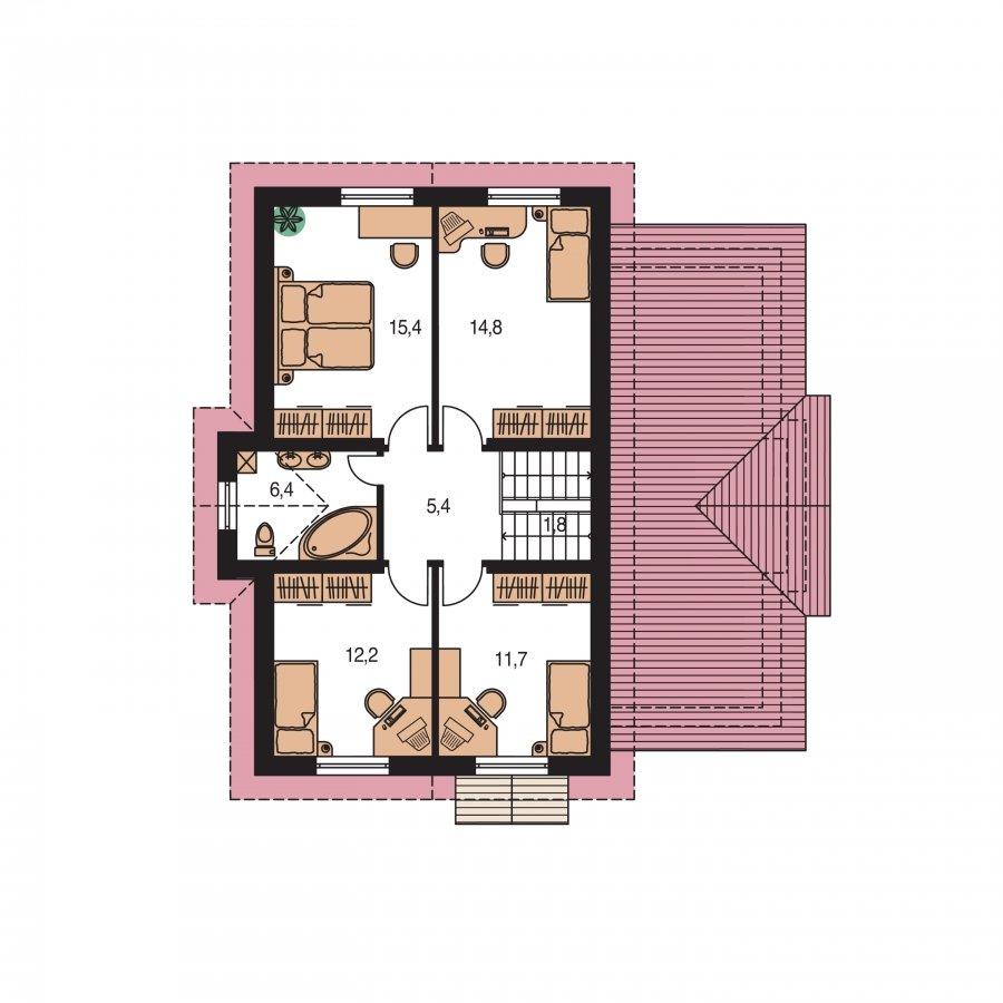 Pôdorys Poschodia - Poschodový rodinný dom s izbami na orízemi a sedlovou strechou