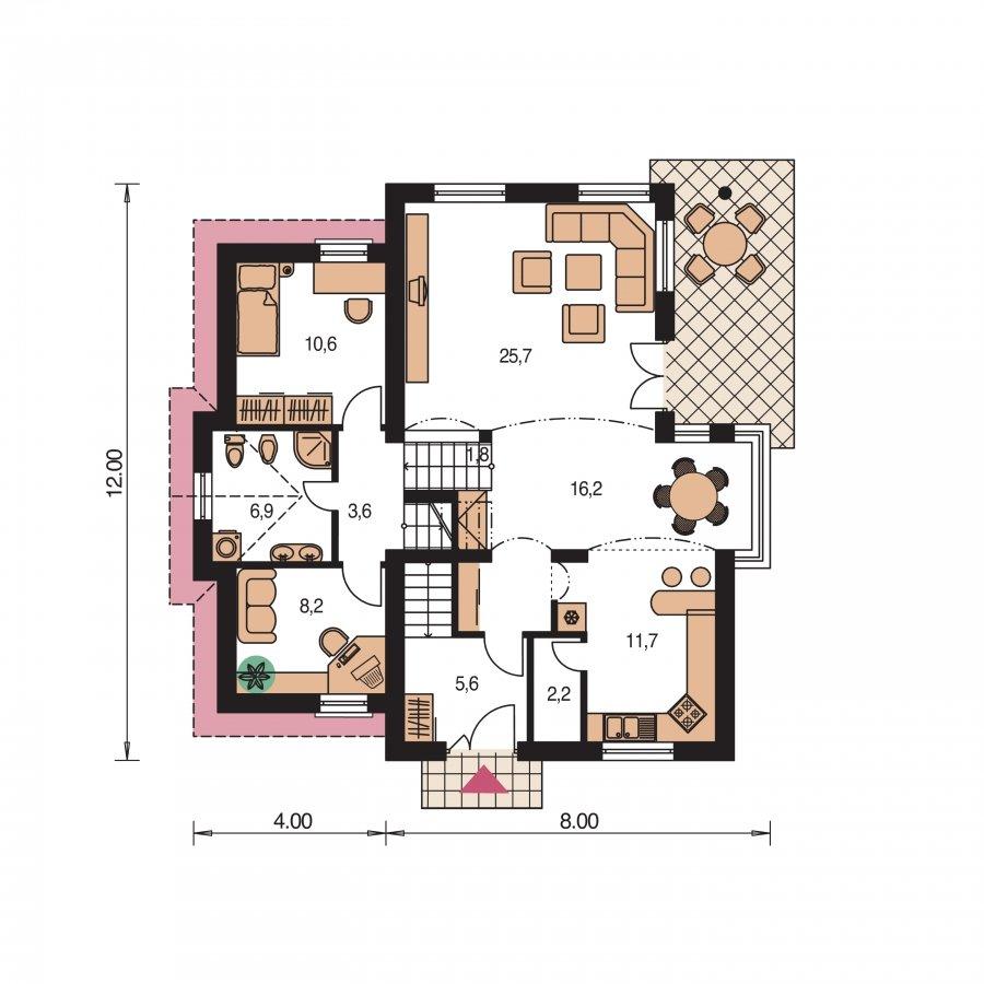 Pôdorys Prízemia - Poschodový rodinný dom s izbami na orízemi a sedlovou strechou