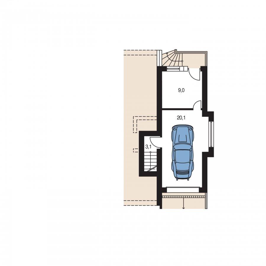 Pôdorys Suterénu - Poschodový rodinný dom s izbami na orízemi a sedlovou strechou