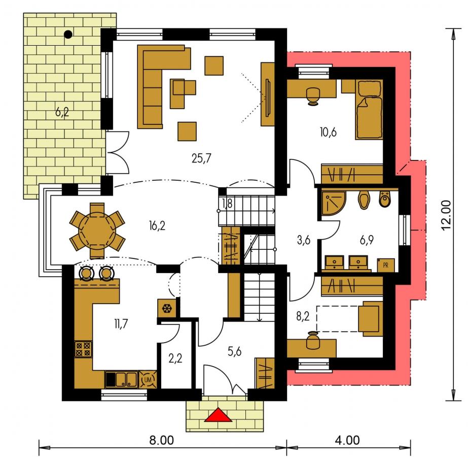 Pôdorys Prízemia - Poschodový rodinný dom so suterénom a s izbami na prízemí.