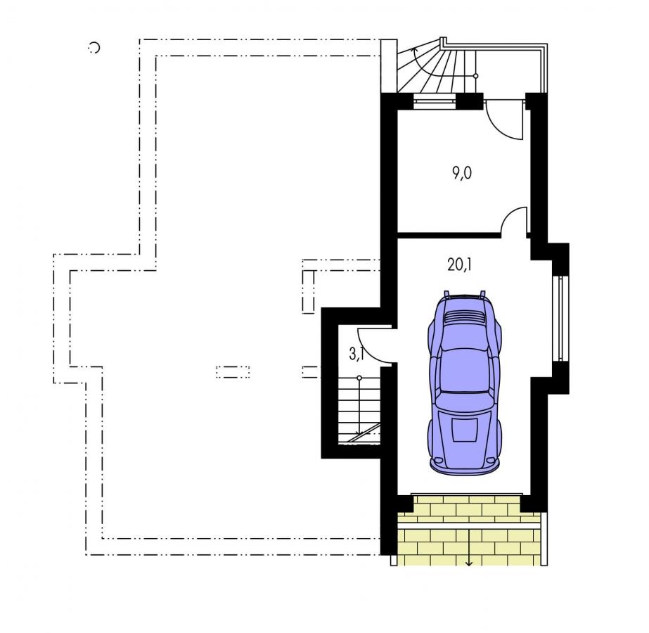 Pôdorys Suterénu - Poschodový rodinný dom so suterénom a s izbami na prízemí.