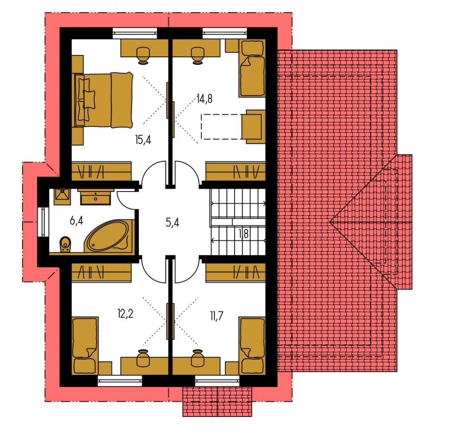 Pôdorys Poschodia - Poschodový rodinný dom so suterénom a s izbami na prízemí.