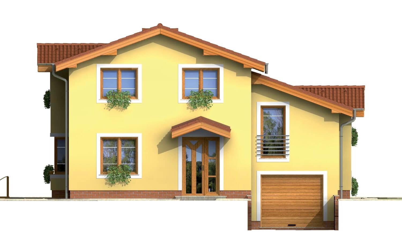 Pohľad 1. - Poschodový rodinný dom so suterénom a s izbami na prízemí.