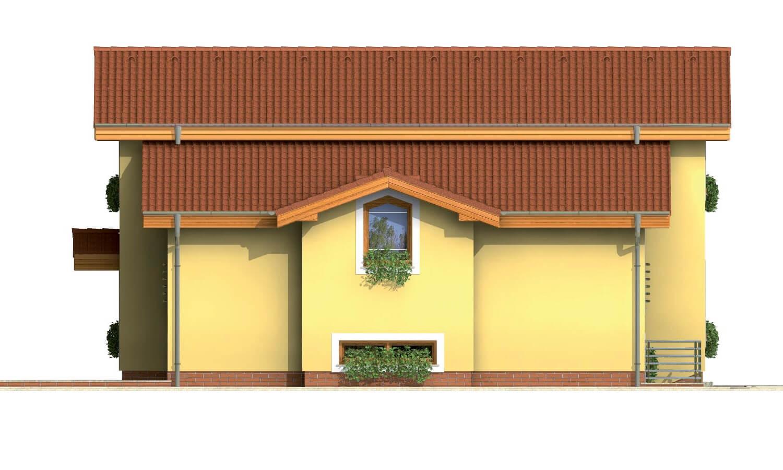 Pohľad 2. - Poschodový rodinný dom so suterénom a s izbami na prízemí.