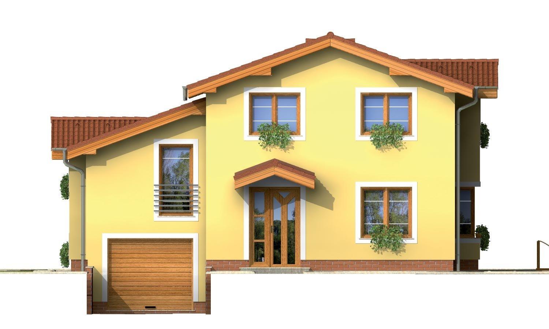 Pohľad 1. - Poschodový rodinný dom s izbami na orízemi a sedlovou strechou