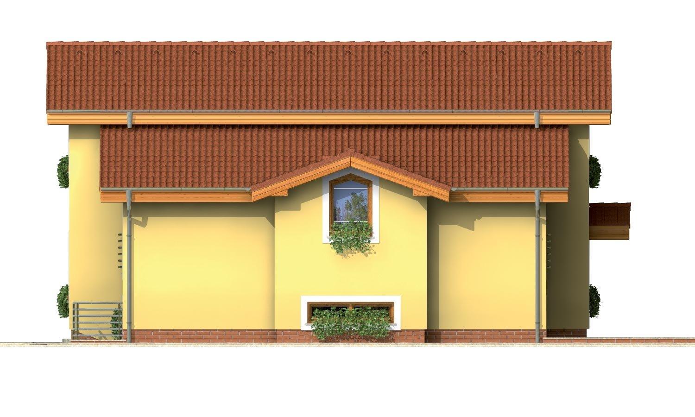 Pohľad 2. - Poschodový rodinný dom s izbami na orízemi a sedlovou strechou