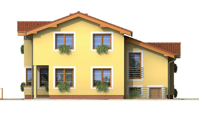 Pohľad 3. - Poschodový rodinný dom s izbami na orízemi a sedlovou strechou
