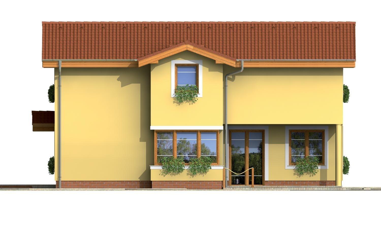 Pohľad 4. - Poschodový rodinný dom s izbami na orízemi a sedlovou strechou