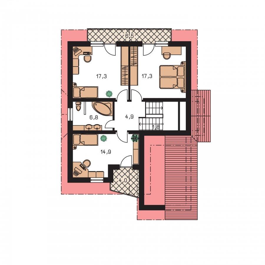 Pôdorys Poschodia - Poschodový dom s garážou v suteréne