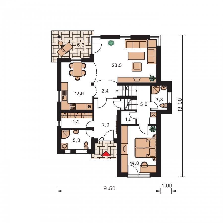 Pôdorys Prízemia - Poschodový dom s garážou v suteréne