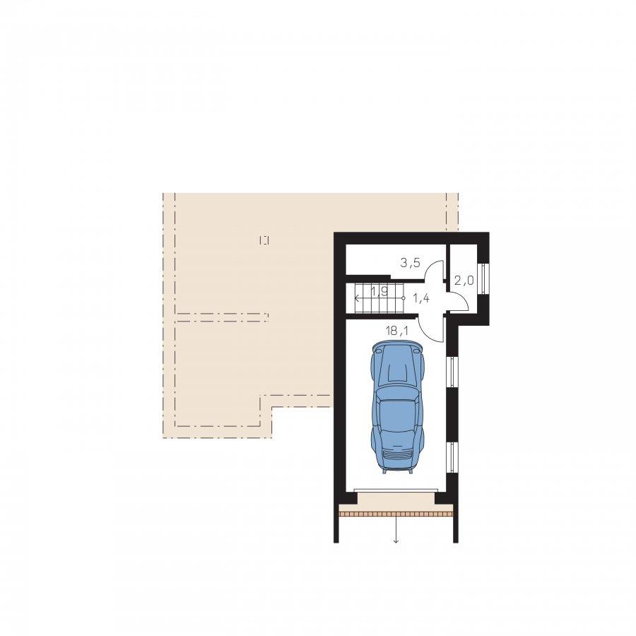 Pôdorys Suterénu - Poschodový dom s garážou v suteréne