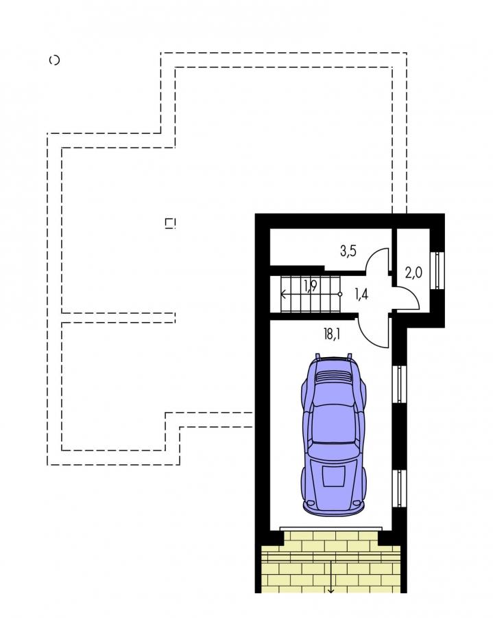 Pôdorys Suterénu - Poschodový dom s garážou v suteréne.