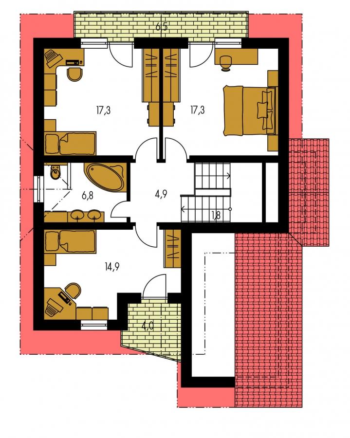 Pôdorys Poschodia - Poschodový dom s garážou v suteréne.