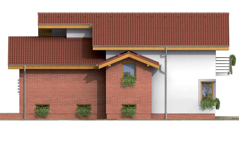 Pohľad 4. - Poschodový dom s garážou v suteréne.