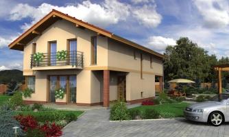 Dvojgeneračný rodinný dom na úzky pozemok so sedlovou strechou.