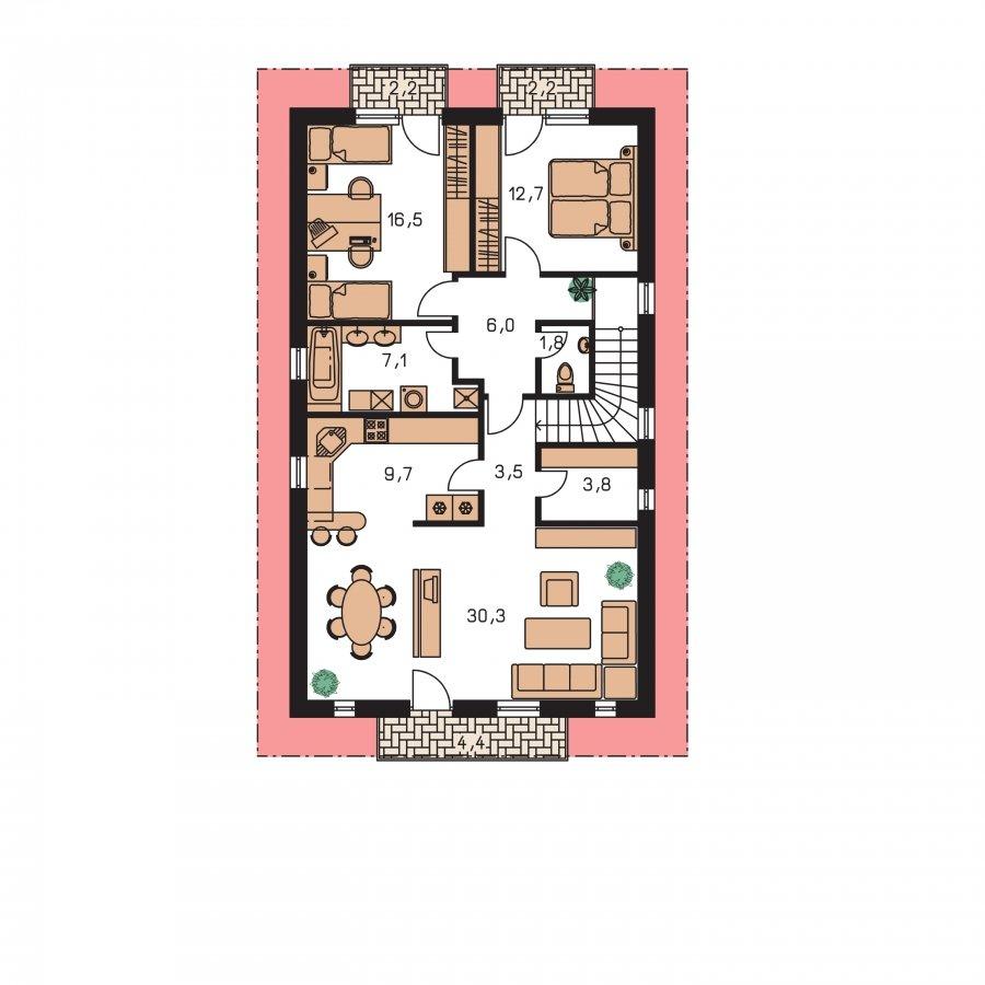 Pôdorys Poschodia - Dvojgeneračný rodinný dom na úzky pozemok so sedlovou strechou.