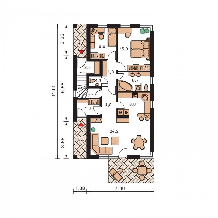Pôdorys Prízemia - Dvojgeneračný rodinný dom na úzky pozemok so sedlovou strechou.