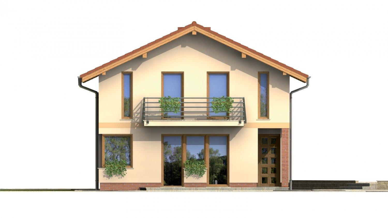 Pohľad 1. - Dvojgeneračný rodinný dom na úzky pozemok so sedlovou strechou.