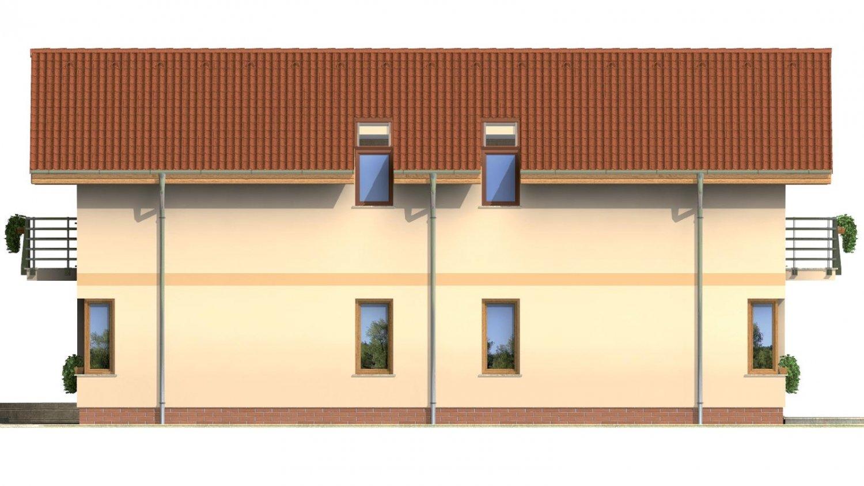 Pohľad 2. - Dvojgeneračný rodinný dom na úzky pozemok so sedlovou strechou.