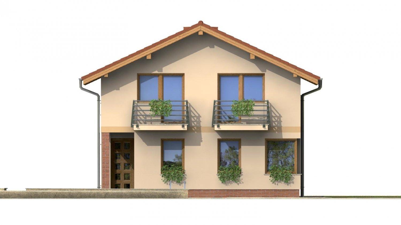 Pohľad 3. - Dvojgeneračný rodinný dom na úzky pozemok so sedlovou strechou.
