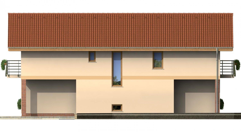Pohľad 4. - Dvojgeneračný rodinný dom na úzky pozemok so sedlovou strechou.