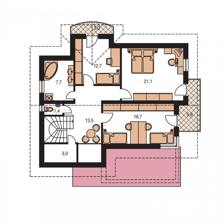 Pôdorys Poschodia - Dvojgeneračný poschodový dom so sedlovou strechou