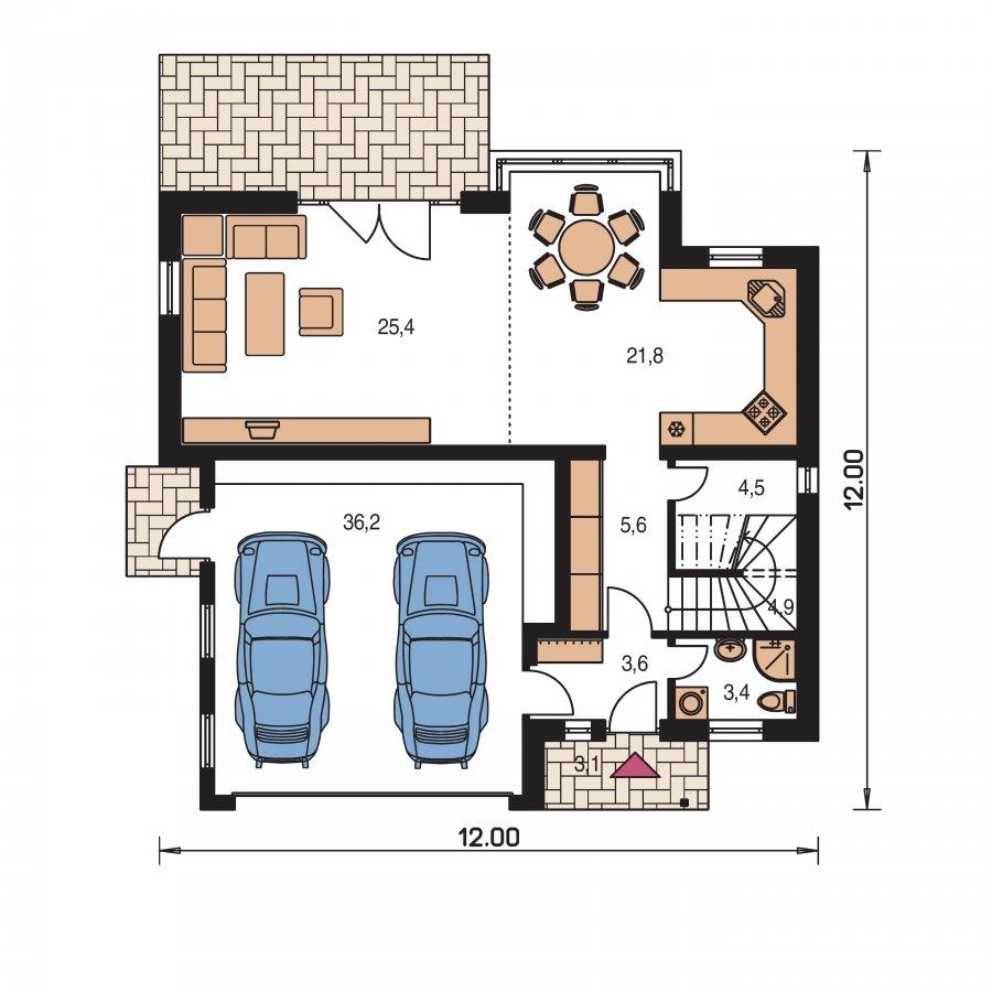 Pôdorys Prízemia - Dvojgeneračný poschodový dom so sedlovou strechou