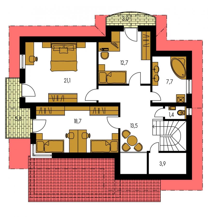 Pôdorys Poschodia - Dvojgeneračný poschodový dom so sedlovou strechou.