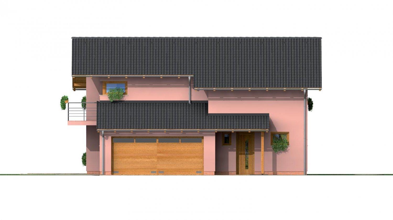 Pohľad 1. - Dvojgeneračný poschodový dom so sedlovou strechou.