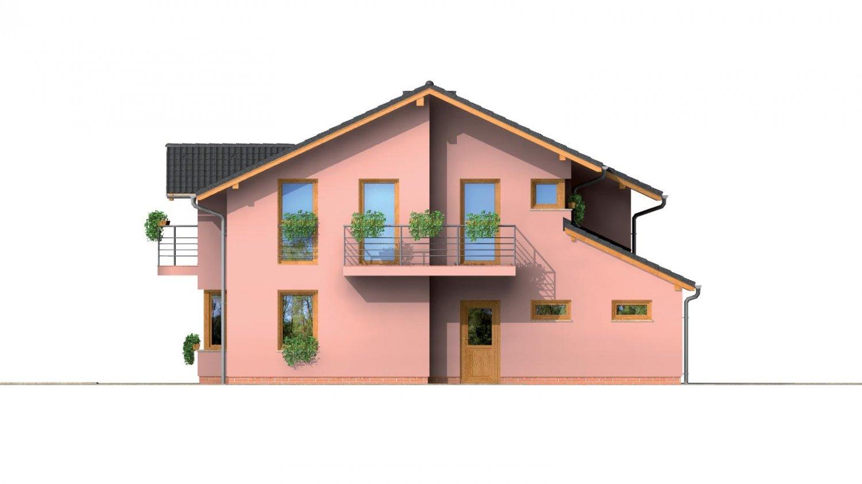 Pohľad 2. - Dvojgeneračný poschodový dom so sedlovou strechou.