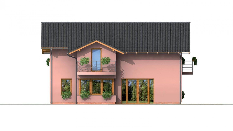 Pohľad 3. - Dvojgeneračný poschodový dom so sedlovou strechou.