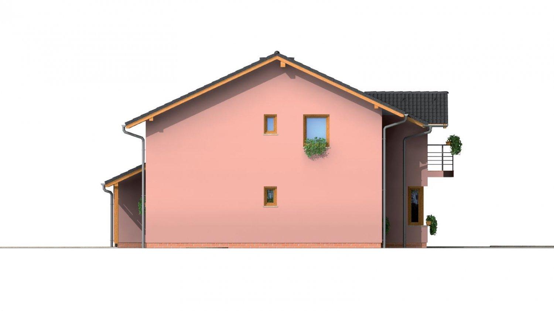 Pohľad 4. - Dvojgeneračný poschodový dom so sedlovou strechou.