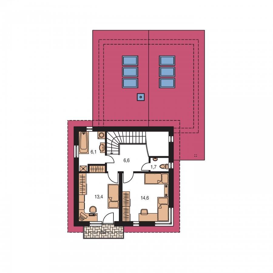 Pôdorys Poschodia - Projekt moderného domu s garážou