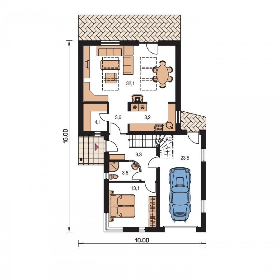 Pôdorys Prízemia - Projekt moderného domu s garážou.