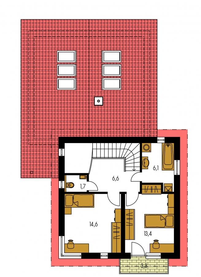 Pôdorys Poschodia - Projekt moderného domu s garážou.